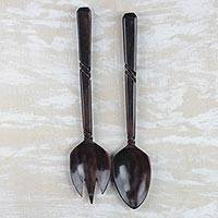 Ebony decorative utensils, 'Kitchen Invite' - Hand-Carved Ebony Wood Decorative Fork and Spoon Set