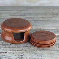 Mahogany coasters, 'Tree Rings' (set of 6) - Round Mahogany Wood Coasters and Container (Set of 6)