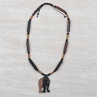 Ebony wood and recycled glass beaded pendant necklace, 'Two-Tone Elephant' (..