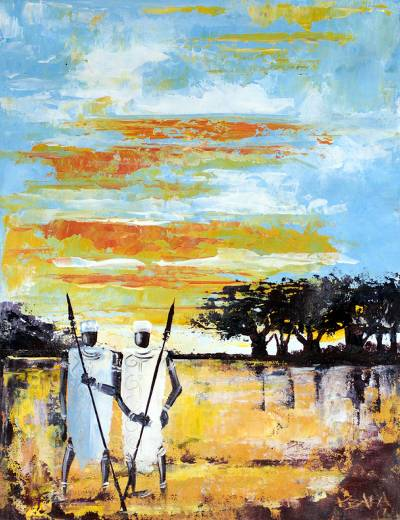 'Two Paddies' - Signed Painting of Two Men on a Farm from Ghana
