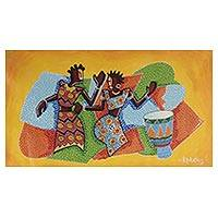 'Lovers' Dance' - Expressionist Painting of African Lovers from Ghana