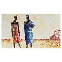 'Love at First Sight' - Expressionist Painting of Two Lovers from Ghana