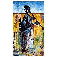 'Mama's Melody' - Expressionist Painting of an African Mother and Child