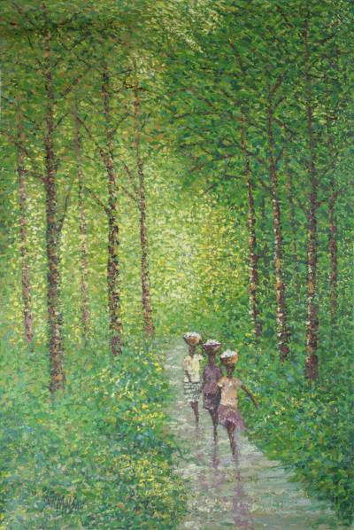 'Sun Through the Forest' - Impressionist Painting of People Walking Through the Forest