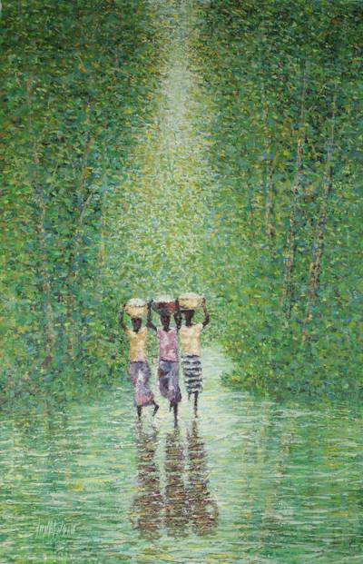 'Walking Home' - Impressionist Painting of Women in Trees from Ghana