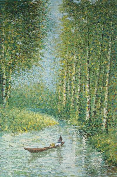 'Silent Sweat' - Impressionist Painting of a Canoe in the Forest from Ghana
