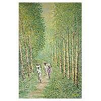 'Forest Path' - Impressionist Painting of People Walking a Forest Path