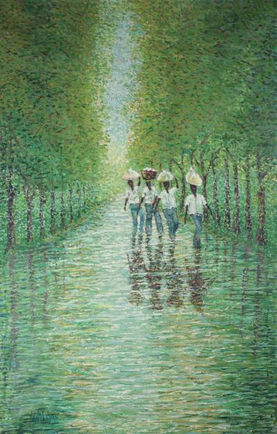 'From the Farm' - Impressionist Painting of Harvesters in the Forest