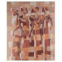 'Friendship' - Signed Expressionist Painting of Four Women from Ghana