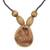 Wood pendant necklace, 'Somemu' - Engraved Sese Wood Bird Beaded Pendant Necklace (image 2a) thumbail