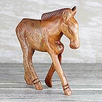 Wood sculpture, 'Galloping Grace' - Hand-Carved Brown Sese Wood Horse Sculpture from Ghana