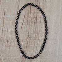 Recycled glass beaded necklace, 'Color of Ebony' - Black Recycled Glass Beaded Necklace from Ghana