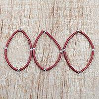 Recycled glass beaded bracelets, 'Triple Spice' (set of 3) - Set of Three Red Spices Layering Recycled Beaded Bracelets