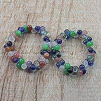 Recycled glass beaded bracelets, 'Ahuodin' (pair) - 2 Multi-Colored Ahuodin Recycled Glass Beaded Bracelets