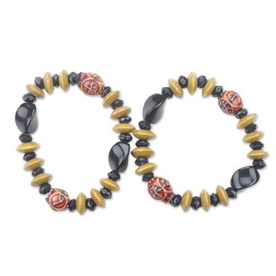 Sese Wood and Recycled Plastic Beaded Bracelets (Pair)