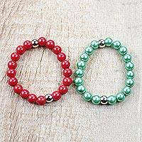 Recycled glass beaded stretch bracelets, 'Candy Drops' (pair) - Red and Green Recycled Glass Beaded Stretch Bracelets