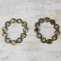 Recycled glass beaded bracelets, 'Droplets of Honey' (pair) - Dripping Honey Recycled Glass Beaded Stretch Bracelets