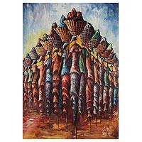 'On the Way to the Market I' - Signed Expressionist Painting of African Women from Ghana