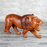 Wood sculpture, 'Lion Roar' - Sese Wood Sculpture of a Lion from Ghana