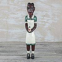 Wood statuette, 'Nurse' - Hand Carved and Painted Nurse in Uniform Wood Statuette