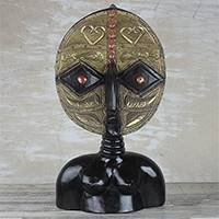 African brass and wood mask, 'Bakota Female' - Brass and Wood African Mask from Ghana