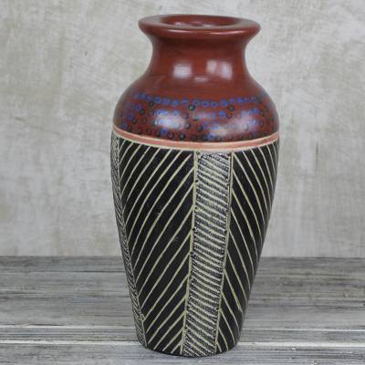 Wood vase, 'Ghanaian Flower Vessel' - Hand-Painted Sese Wood Vase in Red from Ghana