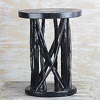 Cedar wood accent table, 'Great Support' - Handmade Cedar Wood Accent Table from Ghana