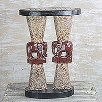 Wood accent table, 'Conversing Elephants' - Elephant-Themed Cedar Wood Accent Table from Ghana