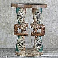 Wood accent table, 'Conversing Lions' - Lion-Themed Cedar Wood Accent Table Crafted in Ghana