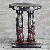 Wood accent table, 'Buddies' - Cedar Wood Accent Table of Two Faces from Ghana