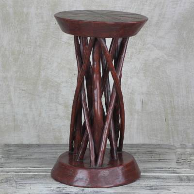 Wood accent table, 'Red Wood' - Red Cedar Wood Accent Table Crafted in Ghana