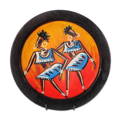 Hand-Painted Wood Dance-Themed Decorative Plate from Ghana