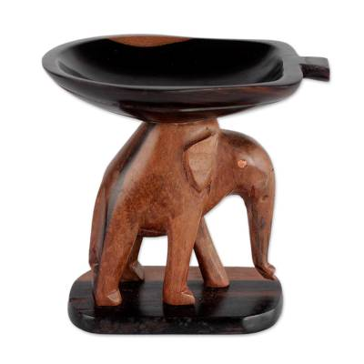 Handcrafted Ebony Wood Elephant Mini Catchall from Ghana