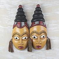African wood masks, 'Twins' (pair) - African Wood Twin Masks from Ghana (Pair)