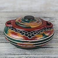 Wood decorative jar, 'Colors of Home' - Handcrafted Red, Green, Yellow Decorative Wood Jar with Lid