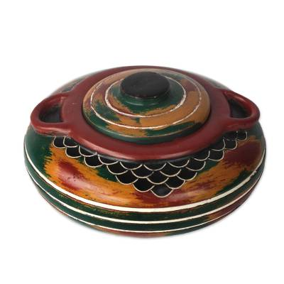 Handcrafted Red, Green, Yellow Decorative Wood Jar with Lid