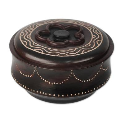 Dark Brown Flower Motif Decorative Wood Jar with Lid