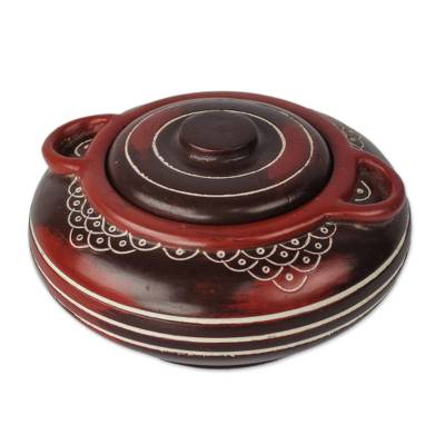 Handcrafted Dark Red and Brown Decorative Wood Jar with Lid