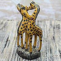 Wood sculpture, 'Giraffe Romance' - Romantic Sese Wood Giraffe Sculpture from Ghana