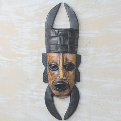 African wood mask, 'Horned Leader' - Golden Brown and Black Horn Motif Decorative Wall Mask