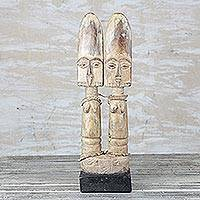 Wood sculpture, 'Fante Siblings' - Hand-Carved Sese Wood Beaded Fante Twin Dolls Sculpture