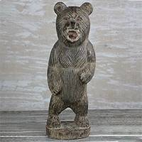 Wood sculpture, 'Roaring Bear' (11 in.) - Hand-Carved Rustic Wood Bear Sculpture from Ghana (11 in.)