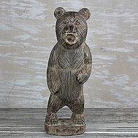 Wood sculpture, 'Roaring Bear' (18.5 in.) - Hand-Carved Rustic Wood Bear Sculpture from Ghana (18.5 in.)