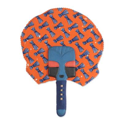 Wood and Cotton Fan in Blue and Orange from Ghana