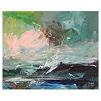 'Waters in Motion' - Signed Multicolored Seascape Painting from Ghana