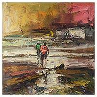 'Countryside' - Signed Painting of People Walking in the Countryside