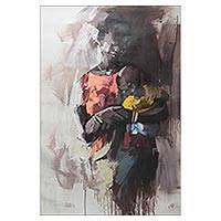 'My Baby' - Signed Expressionist Painting of a Ghanaian Mother and Child