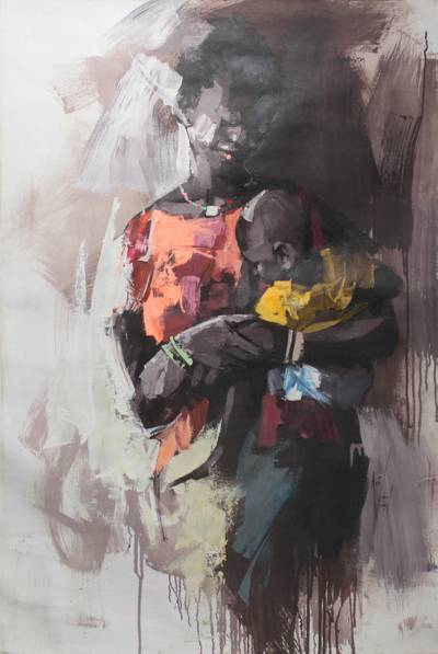 'My Baby' - Signed Impressionist Painting of a Ghanaian Mother and Child