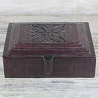 Leather jewelry box, 'Regal Keepsake' - Handmade Leather Jewelry Box Crafted in Ghana