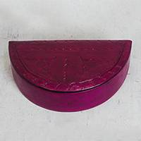 Leather jewelry box, 'Fuchsia Semicircle' - Semicircular Leather Jewelry Box in Fuchsia from Ghana